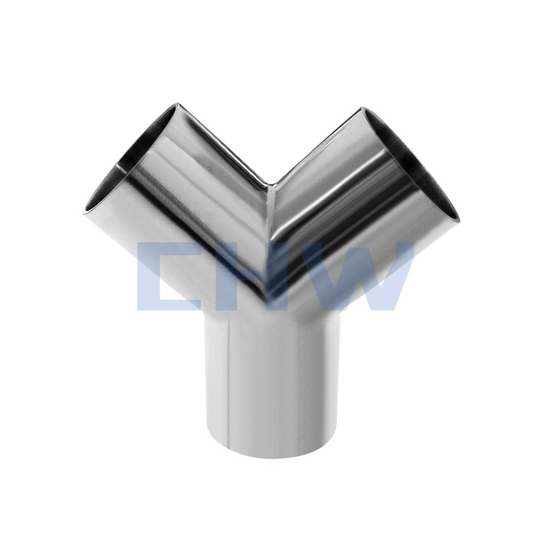 Sanitary stainless steel high quality butt welded oblique Y tee SS304 SS316L DIN SMS ISO 3A BPE IDF AS BS