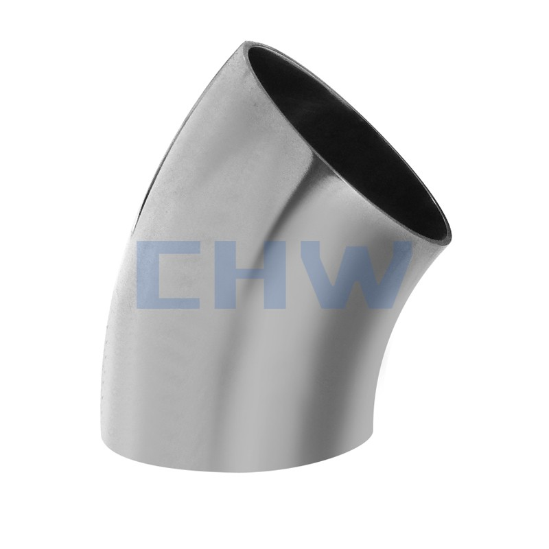 Stainless steel sanitary 45D SS304 SS316L short bend elbow high quality DIN SMS ISO 3A BPE IDF AS BS
