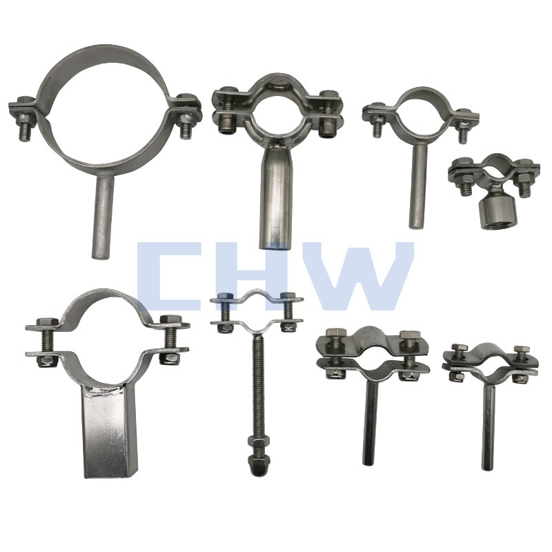 Sanitary Stainless steel SS304 SS316L pipe support pipe clamps with shaft pipe holders pipe clips tubing hanger