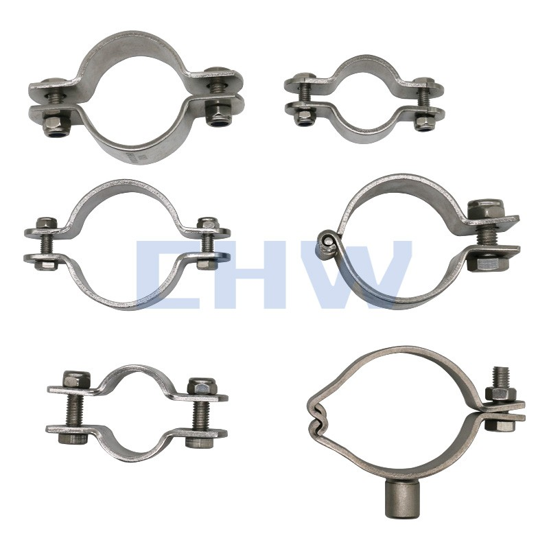 Sanitary Stainless steel SS304 SS316L pipe clip pipe support with shaft pipe holders pipe clamps tubing hanger