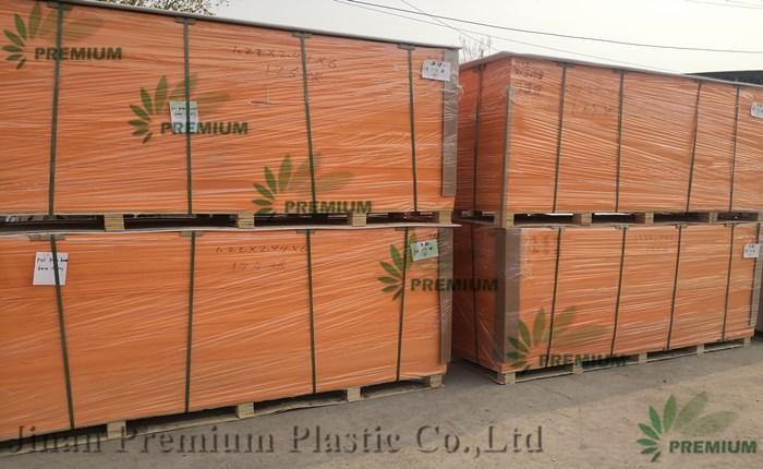 Placa de espuma de PVC de cor laranja e branca com alto brilho para material de móveis
