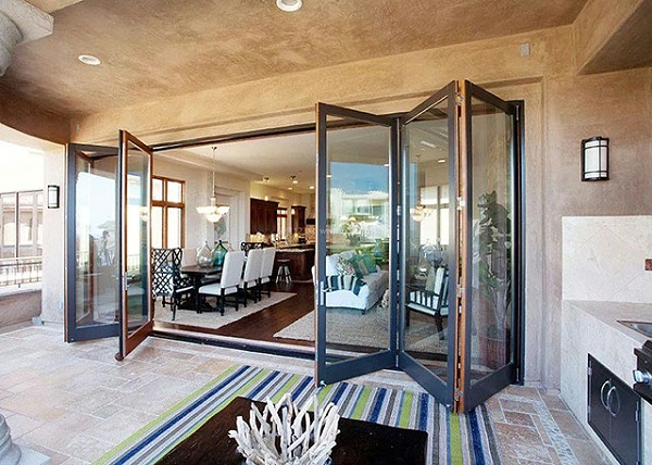 frameless glass folding door