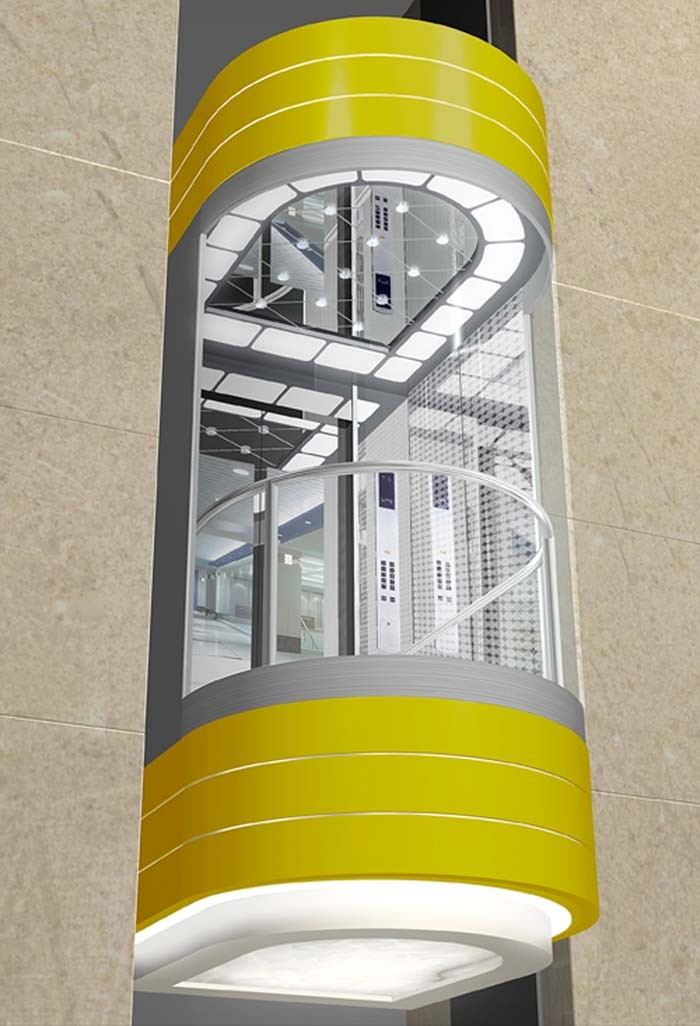 Observation panoramic elevator with good sightseeing glass cabin