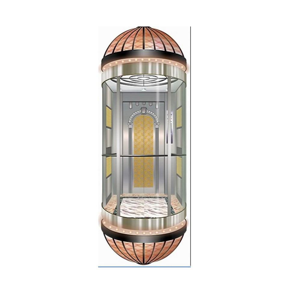 FUJIZY hot selling small machine room circular panoramic elevator