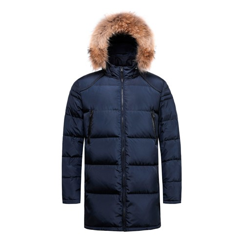 Men's Down Long Jacket and Coat Real Fur on Hooded