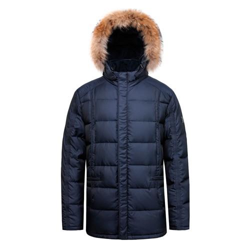 Мужская куртка и пальто на утином пуху из натурального меха с капюшоном