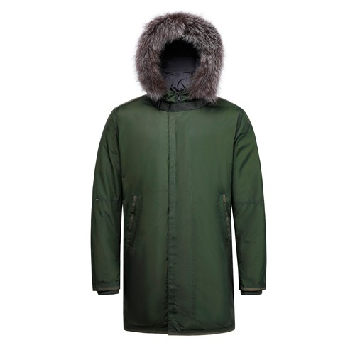 Men's Down Long Jacket and Coat with Fox Fur on Hood