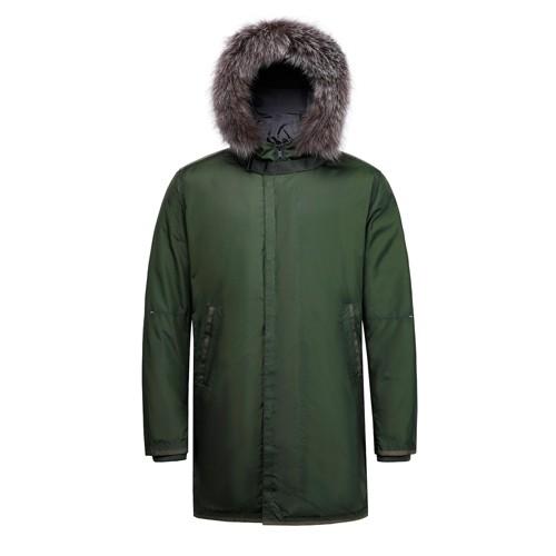 سترة طويلة للرجال مع معطف مع فرو الثعلب على هود