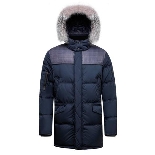 Men's Duck Down Long Winter Coat Blue Frost Fox Fur