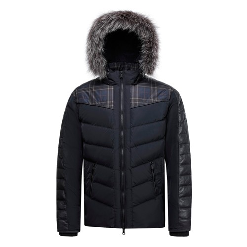 Men's Down Jacket and Coat Duck Down Real Fox Fur on Hooded