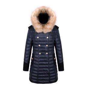معطف شتوي نسائي عصري لباس خارجي طويل مزدوج الصدر وغطاء للرأس مع فرو مزيف