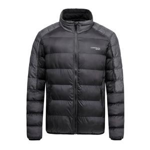 Casaco acolchoado masculino de inverno em tecido de nylon preto