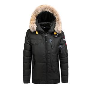 Jaqueta e casaco acolchoado de inverno masculino para exterior com pele falsa