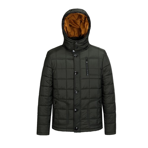 Men's Winter Quilted Padded Jacket and Coat with Hood