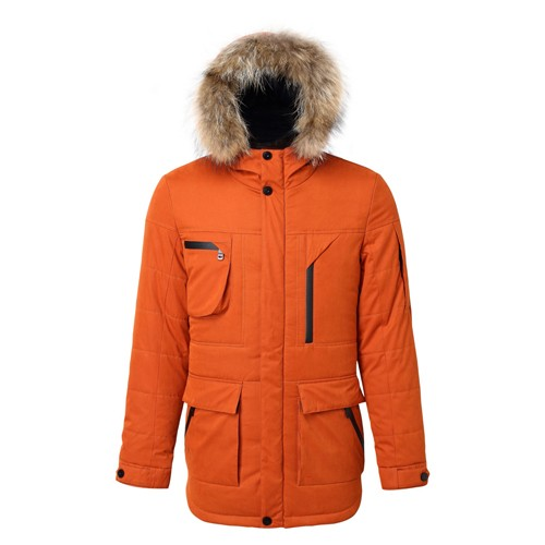 Men's Winter Coat Hooded with Fake Fur