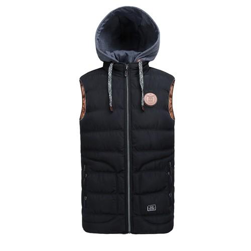Зимний мужской жилет со съемным капюшоном