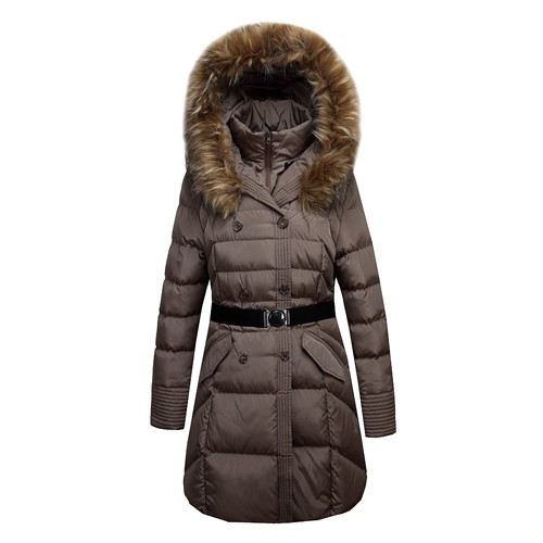 Women's Long Padding Quilting Parka Coat With Faux Fur For The Winter