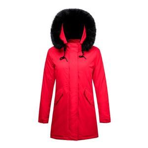 Женская стеганая длинная куртка и искусственный мех на капюшоне