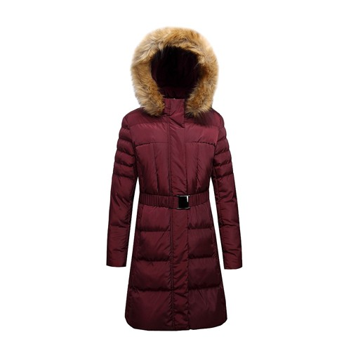 Lady's Long Padded Jacket with Faux Fur on Hood