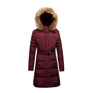Дамская длинная стеганая куртка с искусственным мехом на капюшоне