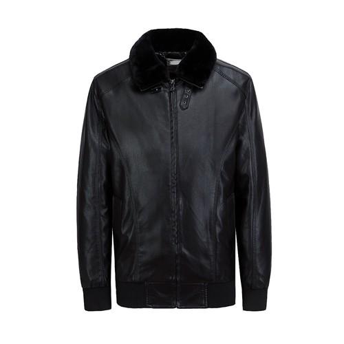 Men's PU Leather Fashion Jacket Fur Collar