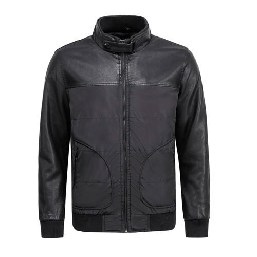 Men's PU and Textile Mixed Jacket
