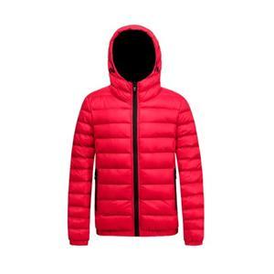 Jaqueta acolchoada masculina e casaco com capuz vermelho