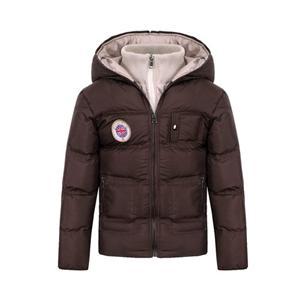 Jaqueta de inverno acolchoada para menino com capuz