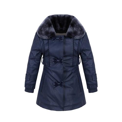 Girl's PU Jacket Removable Collar Fake Fur