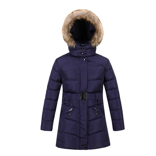 Girl's Winter Coat and Jacket with Fake Fur on Hood