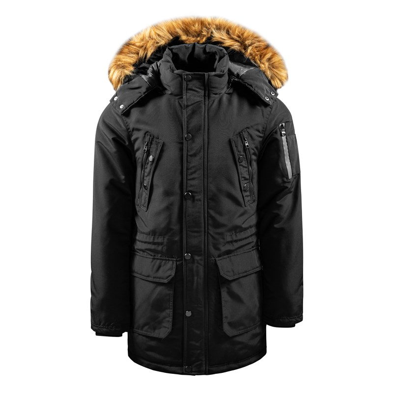 Men's Winter Long Jacket with Fake Fur on Collar