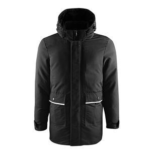 Jaqueta masculina acolchoada parka com capuz preto