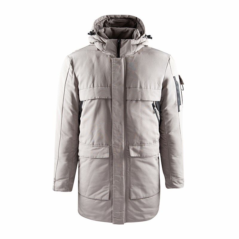Men's Stone Winter Warm Padded Long Coat with Hood 2020
