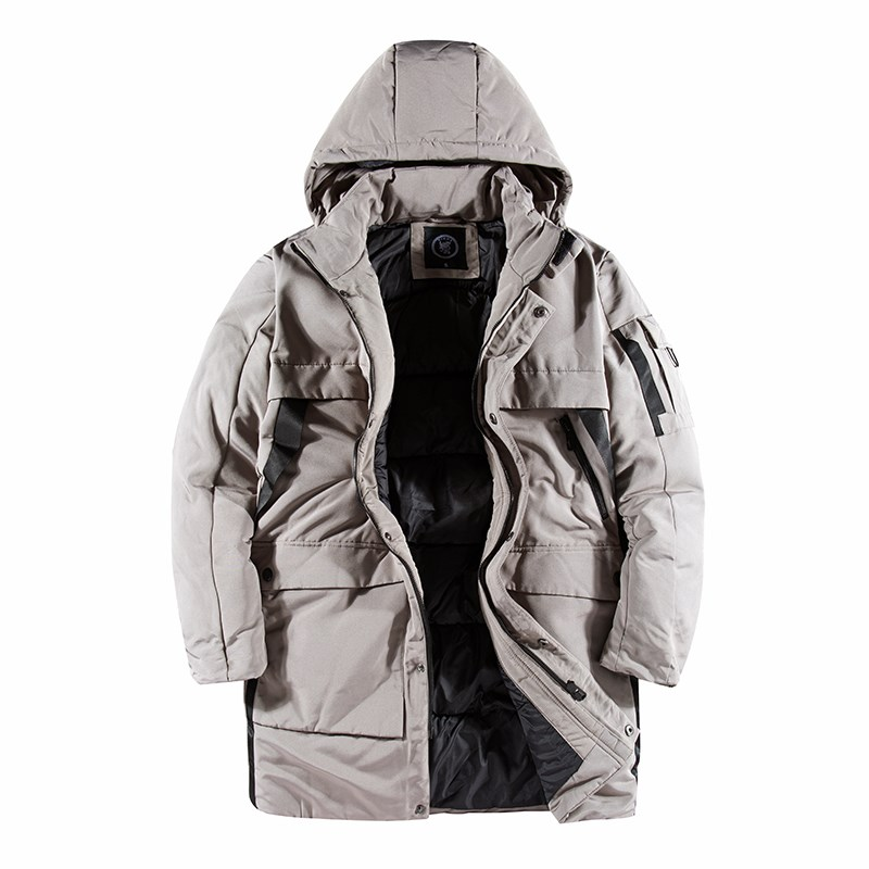Men's Stone Winter Warm Padded Long Coat with Hood 2020