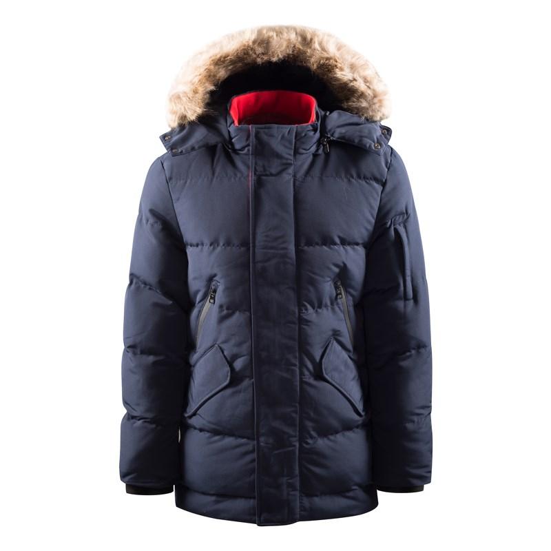 Elegante giacca da esterno lunga alla moda da uomo con pelliccia