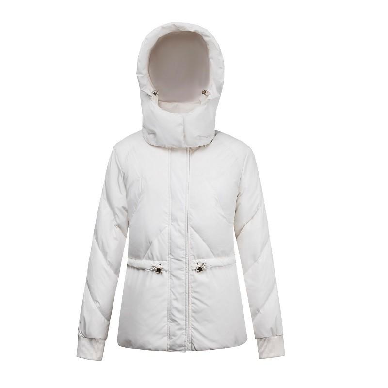 Frauen White Hooded Down Kurzer Parka Mantel