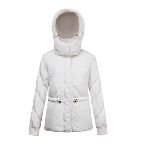 Women White Hooded Down Short Parka Coat