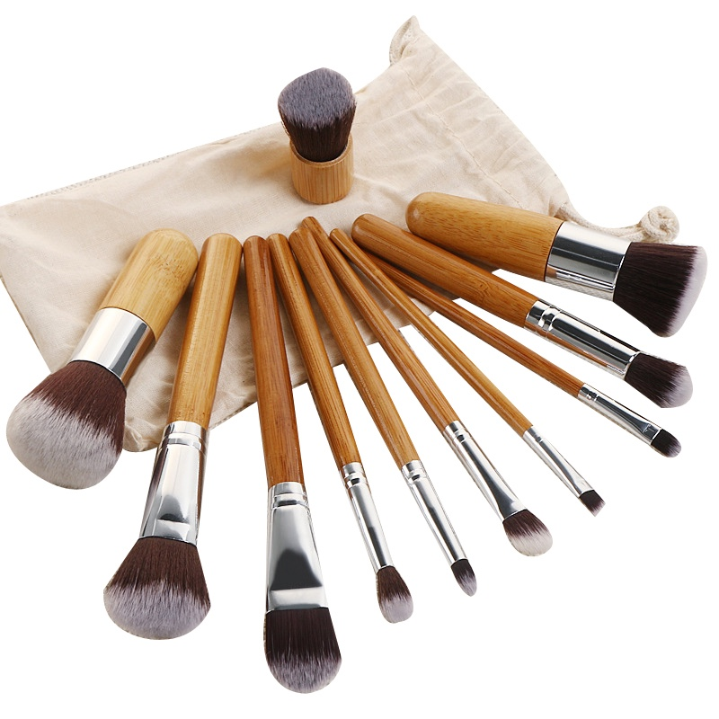 Travel Bamboo Charcoal Antibacterial Makeup Brushes Sets