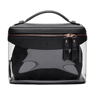 Luxury Black Colour Leather Cosmetic Bags