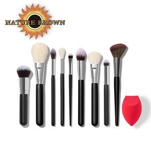 Natural Brown Black 9pcs Eye Shadow Brush High Quality Makeup Brush Custom Logo Makeup Brush Set