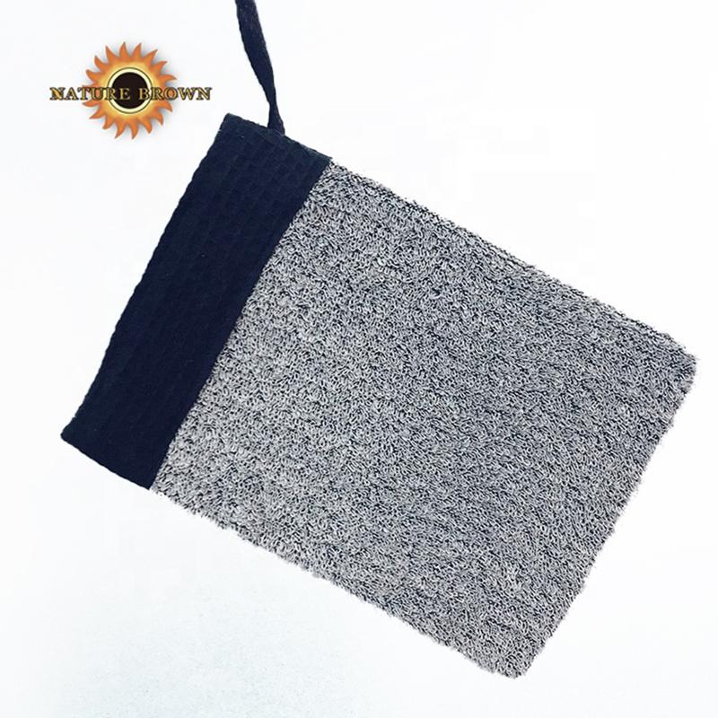 New Stylish Hammam Exfolating Black Gray Bulk Double Sided Gentle Silk Bath Scrub Exfoliation Gloves
