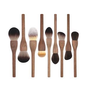 Natural brown Peach wood makeup brush set custom logo