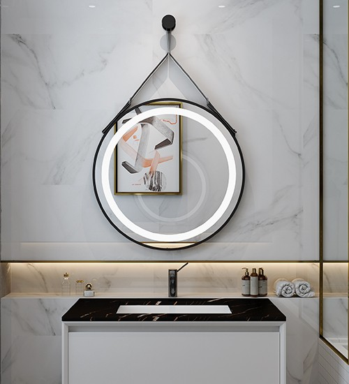 Living Room Decorative LED Mirror with Leather Strap Manufacturers, Living Room Decorative LED Mirror with Leather Strap Factory, Supply Living Room Decorative LED Mirror with Leather Strap