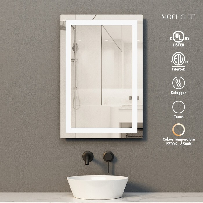 Surface mount rectangle LED lighted mirror