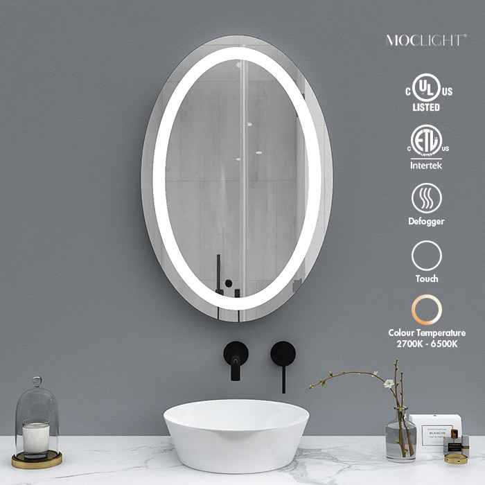 Frameless Oval shape bathroom wall vanity mirror