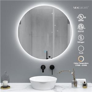 Round bathroom lighted mirror with touch sensor