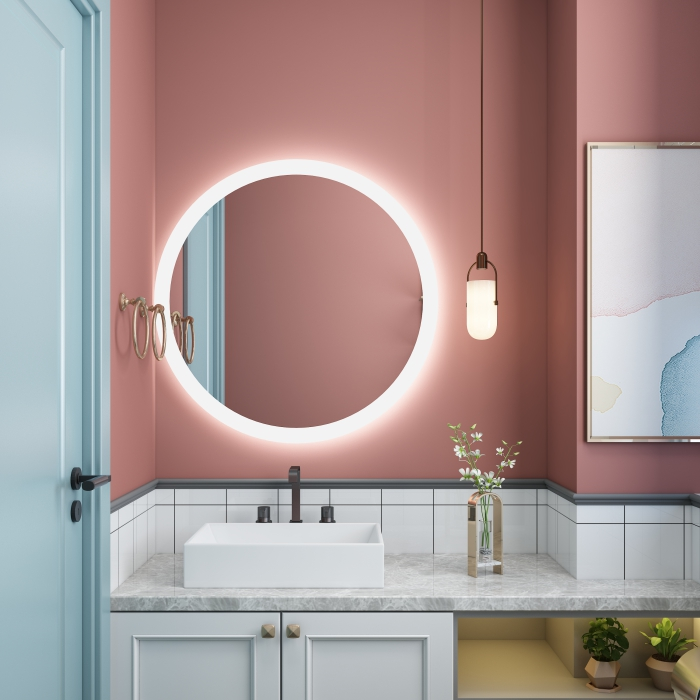 Wall mounted anti-fog lighted bathroom mirror with led lights Factory