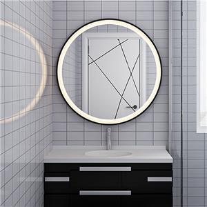 espejo redondo con marco de metal negro