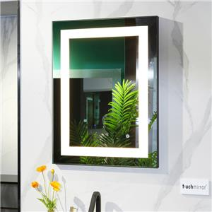 Dimmable black aluminum framed bathroom mirrors with touch sensor