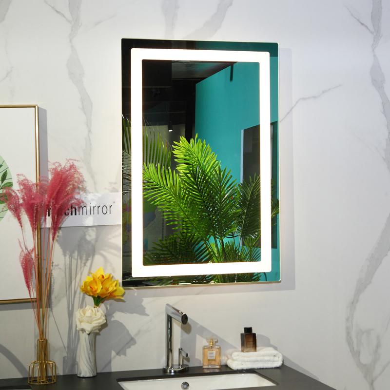 Frameless rectangle LED lighted bathroom makeup mirror Factory